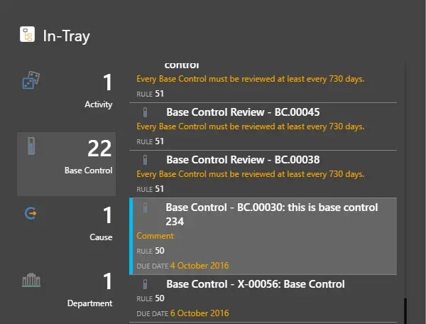 Active Base Control assigned to the user will be listed per the Responsibility