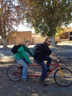 Despite screws sticking out of the seat to poke in the sensitive bits, it was cool to try out the tandem bike. It takes so much more coordination than we expected! :)