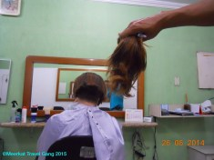 In preparation of work interviews Kiernan trimmed the mighty cultivation of hair that had traveled with us from Florida.