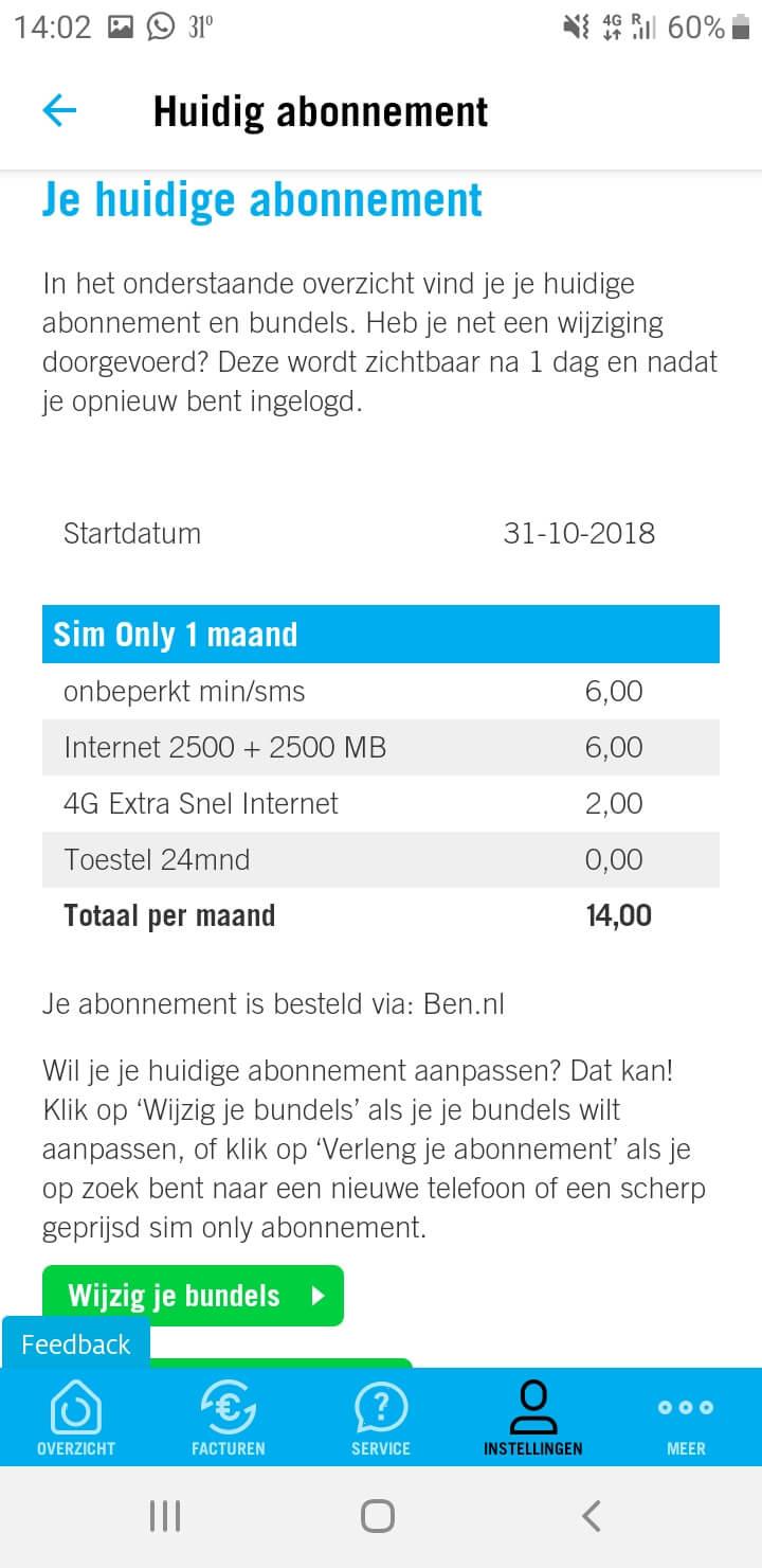 Sim Only Abonnement Ben