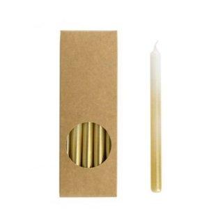 Potloodkaarsjes wit-goud 17cm