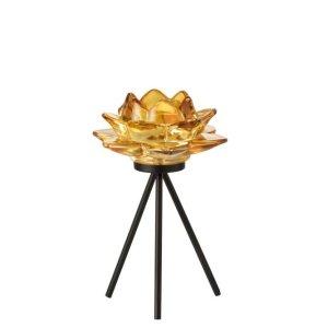 Waxinelichthouder bloem geel 18cm