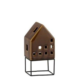 Waxinelichthouder huis bruin 16cm