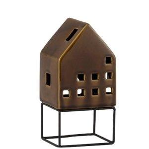 Waxinelichthouder huis bruin 20cm