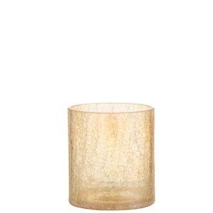 Waxinelichthouder crackle amber 11cm - bijzonder mooi wonen!
