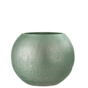 Waxinelichthouder craquele groen mat 16cm