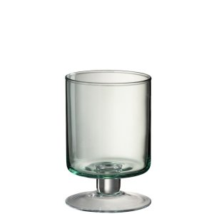Waxinelichthouder transparant groen 23cm