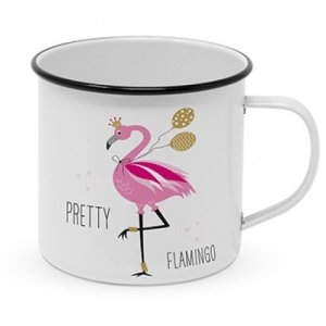 Mok metaal pretty flamingo 400ml