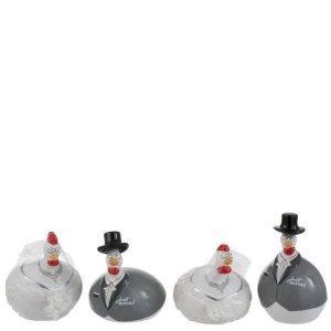Ornament kip trouwen 10cm set 3