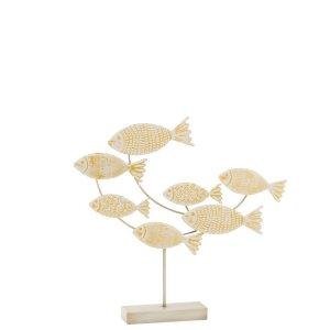 Ornament vissen wit-geel metaal 49cm