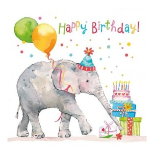 Servetten kinderverjaardag olifant 33x33