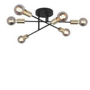 plafondlamp zwart Sticks 6 lichts