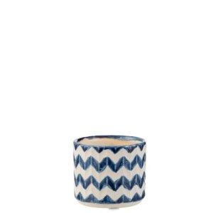 Bloempot blauw zigzag 7cm