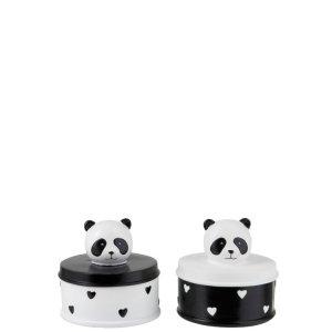 Opbergdoos zwart-wit panda polyresin set van 2 detail