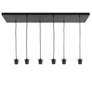 Pendel lampenkap zwart metaal 6 lichts