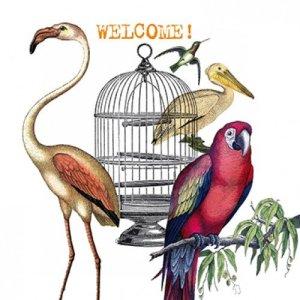 Servetten wit vogels welcome 33x33