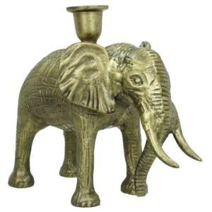 Kandelaar brons olifant 19cm detail