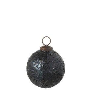 J-line Kerstbal groen glitter 7cm