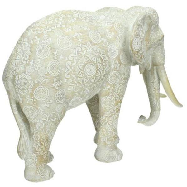 Ornament olifant wit 25cm detail
