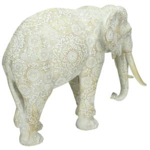 Ornament olifant wit 25cm detail