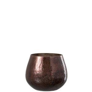 Waxinelichthouder bruin glas 12cm