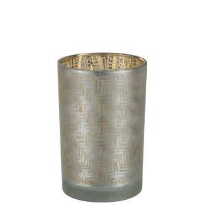 Waxinelichthouder grijs-goud 18cm