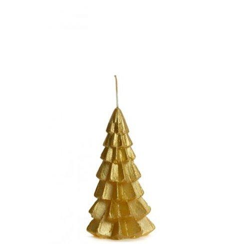 Kerstboom kaars goud 6x12cm