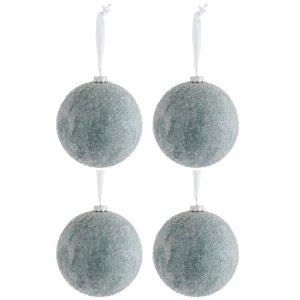 Kerstballen wit ijsgroen 12cm