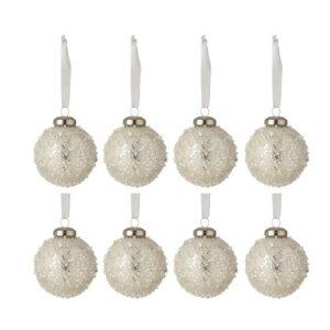 Kerstballen wit parels 6cm