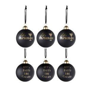 Kerstballen zwart goud gatsby 8cm