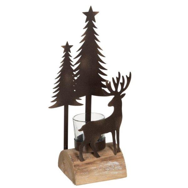 Waxinelichthouder bruin kerst 26cm