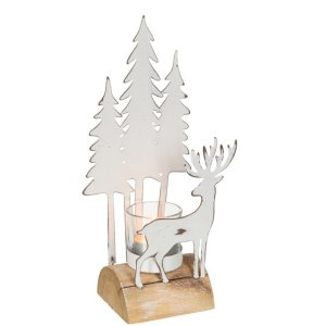 Waxinelichthouder wit kerst 26cm detail