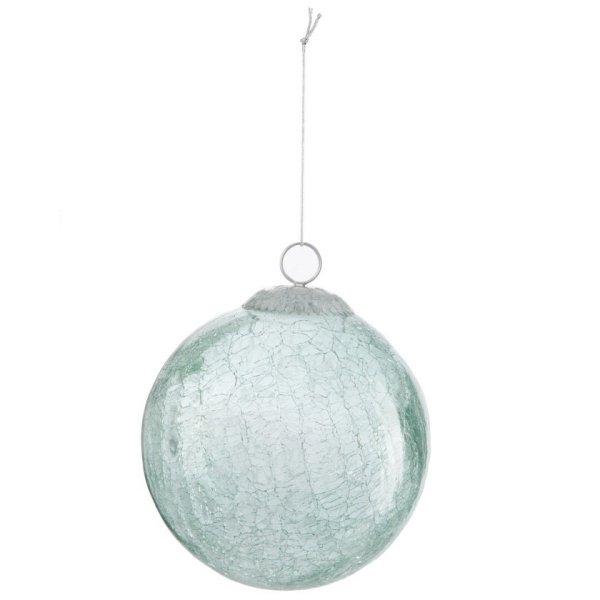 Kerstbal groen crackle 12cm