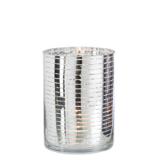 Waxinelichthouder zilver streep 24cm detail