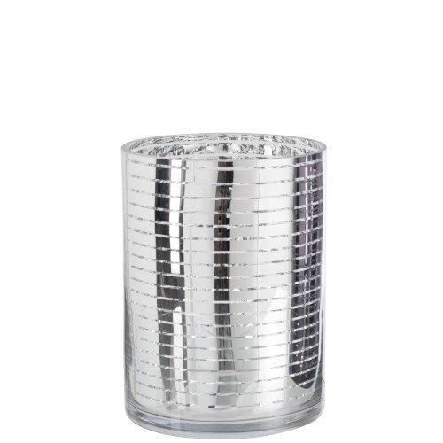 Waxinelichthouder zilver streep 24cm