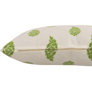 Sierkussen groen wit blad 45x45cm detail