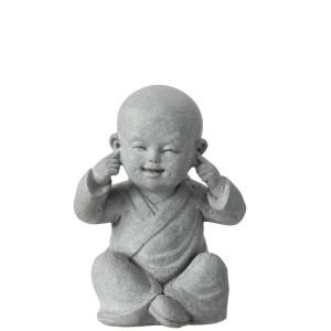 Horen beeldjes monnik grijs 16cm