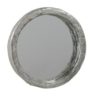 Spiegel zilver rond polyresin 25cm