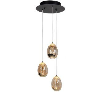 Hanglamp amber Egg 3 lichts rond