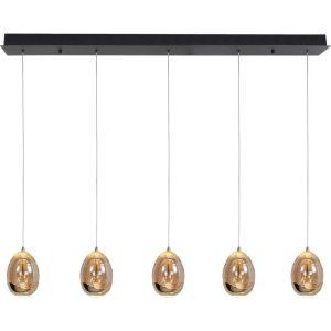 Hanglamp amber Egg 5 lichts balk
