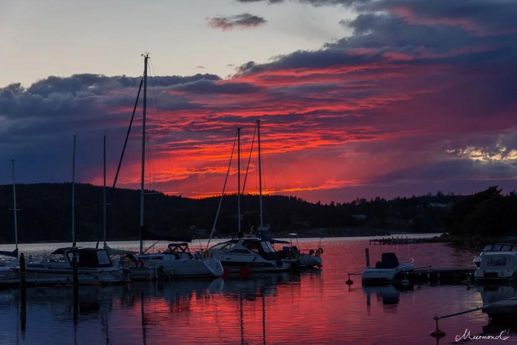 Sonnenuntergang Schweden Schiffe