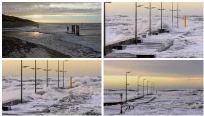 Sturm an der Dänischen Nordseeküste bei Løkken.