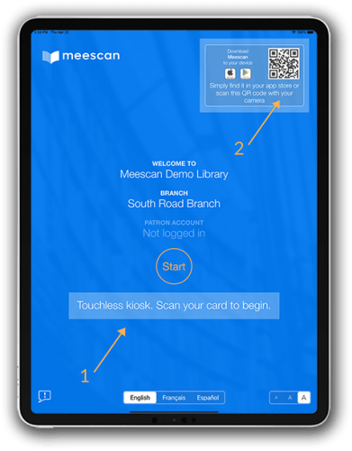 screenshot of Meescan kiosk in touchless mode