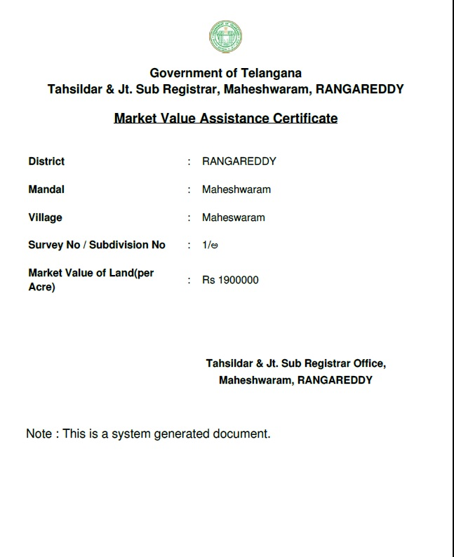 Sample Dharani Market Value Certificate