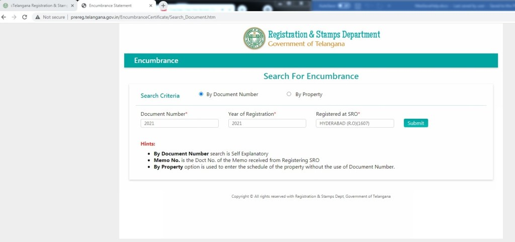 EC Document Number, Year of Registration and SRO