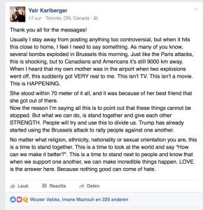 Yair Facebook message