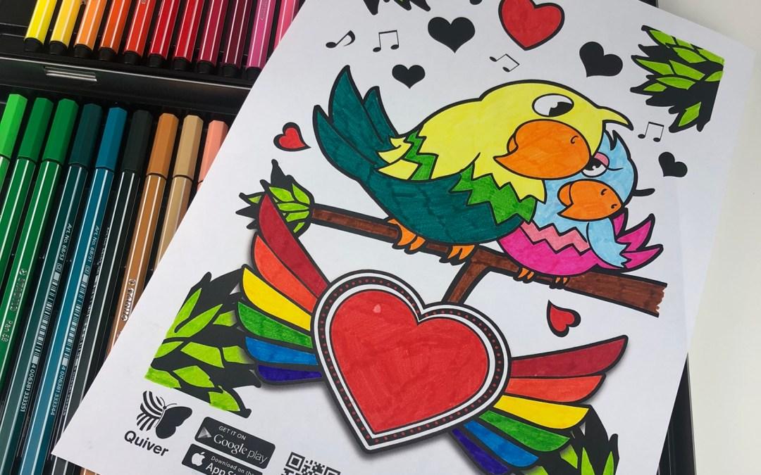 Valentijnskleurplaat tot leven laten komen met Quiver
