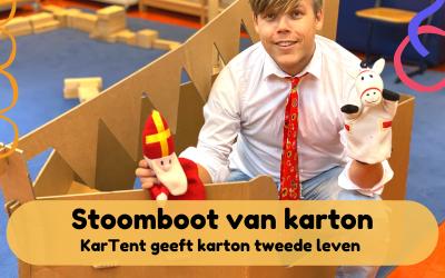 Stoomboot van karton – Tip voor het thema sinterklaas