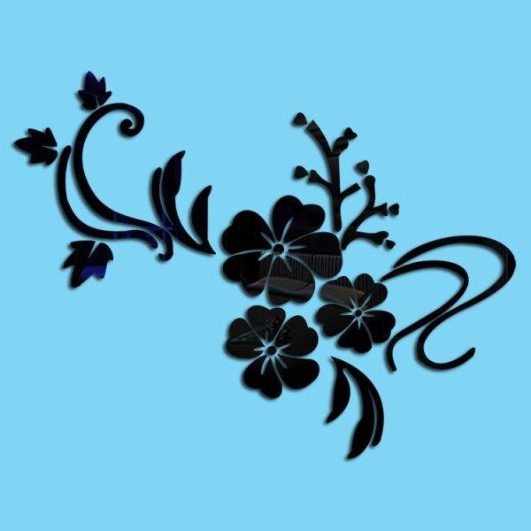 鏡面貼紙(黑色木槿花)
