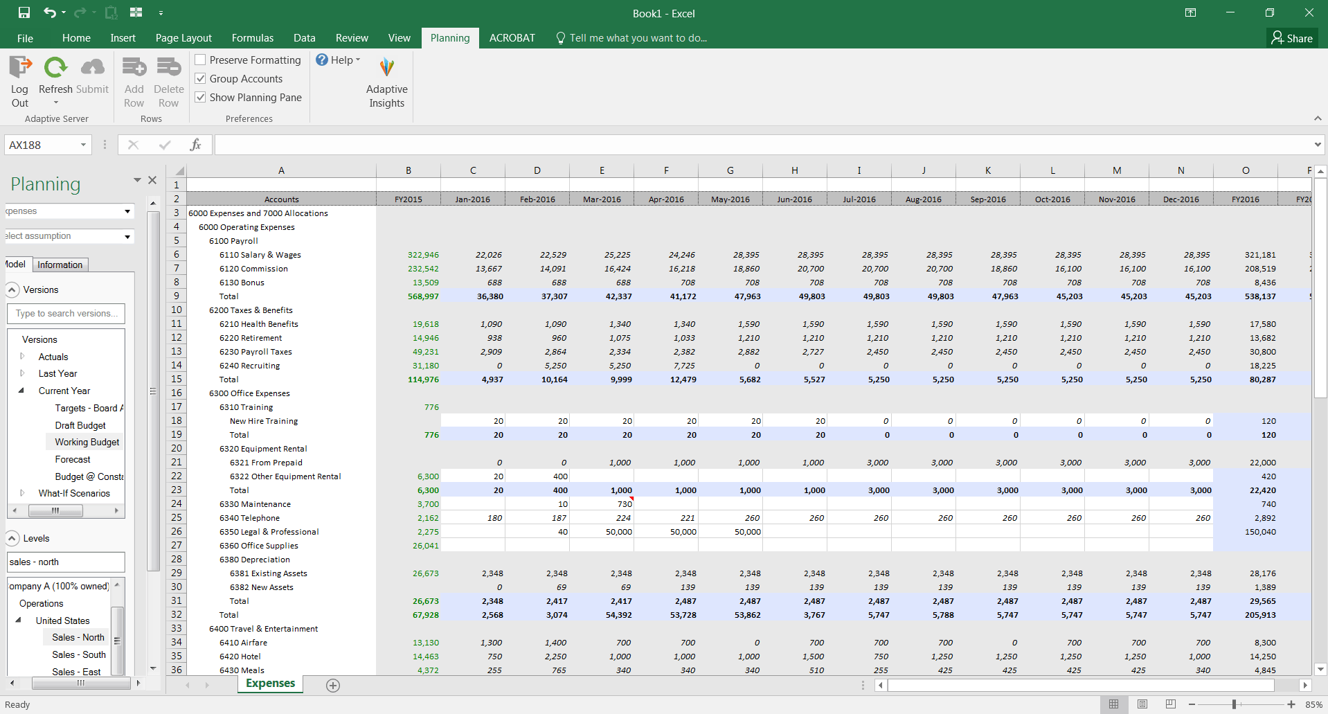 Excel Interface For Budgeting Forecasting And Planning